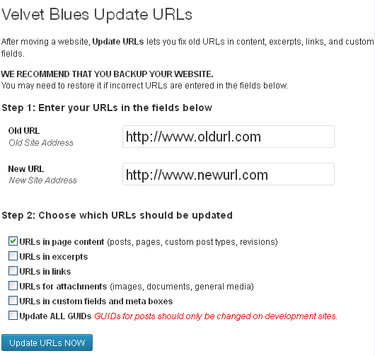 Velvet Blues Update URLs